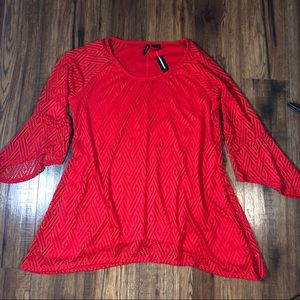 New Directions Red Tunic blouse large